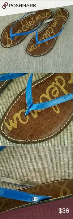 NWOT Sam Edelman Gracie blue sandals thong New Sam Edelman Gracie sandals, flip flops, things, size 9, patent blue, topstitch detail Sam Edelman Shoes Sandals