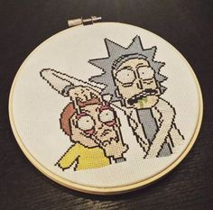 Rick and Morty cross stitch from @catconfetti on Twitter