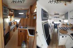 L'heure est venue de vous présenter notre maison roulante! Toutes les photos de l'intérieur avant et après rénovation.