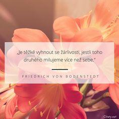 Je těžké vyhnout se žárlivosti, jestli toho druhého milujeme více než sebe. - Friedrich Von Bodenstedt #milování #žárlivost #láska