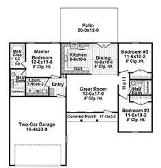 Floor Plans AFLFPW09334 - 1 Story Traditional Home with 3 Bedrooms, 2 Bathrooms and 1,200 total Square Feet