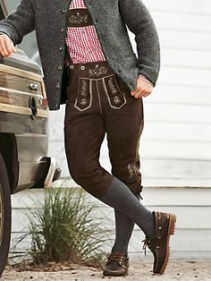 Knee-length lederhosen www. Mens Lederhosen, German Lederhosen, Traditional German Clothing, Traditional Outfits, German Costume, German Outfit, Leather Shorts, Pajama Shorts, Black Jeans
