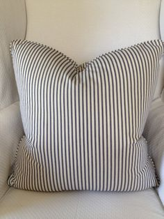 Navy Blue and Ivory Ticking Stripe Pillow