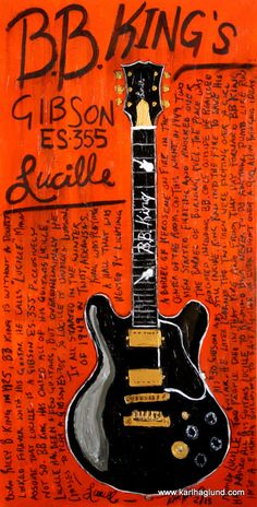 BB King Lucille Gibson electric guitar art print by KarlHaglundArt, $20.00