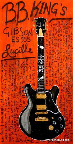 BB King Lucille Gibson electric guitar art print by KarlHaglundArt, $20.00