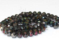 10 x perle electroplate Gris irise 8x6mm, en Verre, Forme ovale a facette -- PVE-0020.3 : Perles en Verre par crehando