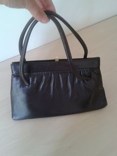 Brown soft leather vintage sixties handbag by DottysVintageFinds on Etsy