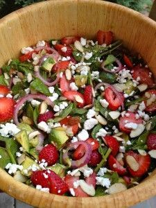 Spinach, Strawberry & Avocado Salad with Strawberry Vinaigrette. The perfect Summer Salad :)