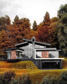 Modern Architecture House, Modern House Design, Architecture Design, Casas Containers, Luxury Homes Dream Houses, Dream House Exterior, Facade House, Exterior Design, Building A House
