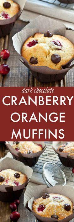 Small batch of muffins: dark chocolate orange cranberry muffins. Dessert or breakfast!