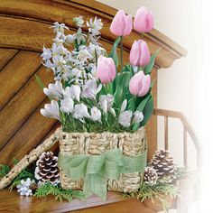 Pink And White Bulb Garden Gift Basket   The Perfect Gift For Any Gardener  Or Nature