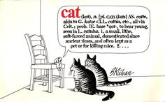 """Cats by B. Kliban. Workman Publishing Co., 1975. """"Cat: one hell of a nice animal, frequently mistaken for a meatloaf."""""""