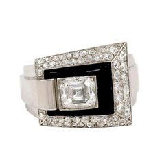 French Art Deco Onyx and Diamond Ring | From a unique collection of vintage fashion rings at http://www.1stdibs.com/jewelry/rings/fashion-rings/