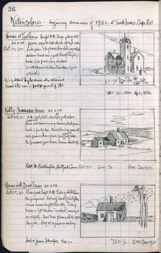 1932 Edward Hopper journal where he and his wife Jo documented his work, including these three Cape Cod paintings. Travel Sketchbook, Artist Sketchbook, Sketchbook Pages, Sketch Journal, Journal Pages, Moleskine, Graphic Novel, Commonplace Book, Sketchbook Inspiration