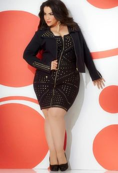 Studded jacket, studded dress, curvy girl fashion, plus size fashion, women Look Plus Size, Plus Size Girls, Plus Size Women, Plus Zise, Mode Plus, Curvy Girl Fashion, Plus Size Fashion, Womens Fashion, Fall Fashion