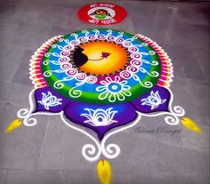 Easy Rangoli Designs Diwali, Indian Rangoli Designs, Simple Rangoli Designs Images, Rangoli Designs Latest, Rangoli Designs Flower, Colorful Rangoli Designs, Rangoli Ideas, Diwali Rangoli, Beautiful Rangoli Designs
