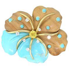 Seaman Schepps Wood Turquoise Sapphire Diamond Gold Flower Brooch Pin