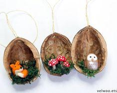 [Forest Animal Christmas Ornaments, Fox owl and mushroom ornament, walnut shell ornament , Nature Gi Waldtier Ornamente Fox Eule und Pilz Fox Ornaments, Shell Ornaments, Owl Ornament, Handmade Ornaments, Hanging Ornaments, Christmas Tree Ornaments, Handmade Gifts, Diy Christmas Gifts, Rustic Christmas