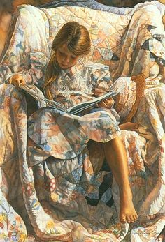 de leitura — Steve Hanks The book by Steve Hanks (USA, ! Love the pattern and decorative in this illustration!The book by Steve Hanks (USA, ! Love the pattern and decorative in this illustration! Reading Art, Woman Reading, Children Reading, Art Children, Reading Books, Watercolor Artists, Watercolor Paintings, Realistic Paintings, Paintings Famous