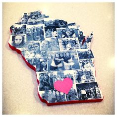 Made this gift for my friend who's going away to the University of Wisconsin  Cut out state from a piece of wood using a jigsaw, painted sides red and the front white with acrylic paint, and then mod podged printed photos (used a laser printer on normal paper) on the front