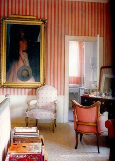 View of Marella Agnelli's NYC apartment with portrait of young  Donna Maria Beatrice Olga Alberta Caracciolo (later de Meyer)  Photo - Eric Bowman