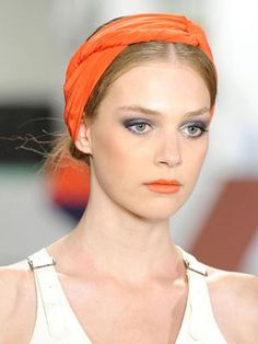 Turban Knot, #style #scarves #hair #decor #fashion #orange #summer #model #scarf