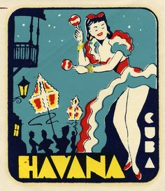 1940s Havana Rumba Dancer Souvenir Decal