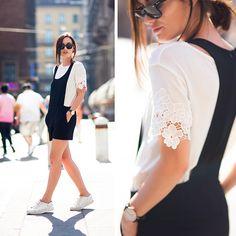 Anouska P. - Black Romper & Lace Sleeves