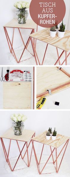 DIY Anleitung für einen Tisch aus Kupferrohren, geometrisches Design / crafting inspiration: table made of copper pipes, industrial design via DaWanda.com