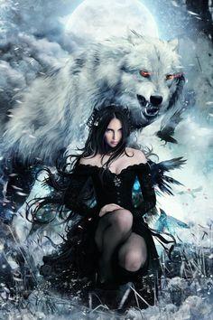Dark Fantasy Art, Fantasy Wolf, Beautiful Fantasy Art, Dark Art, Wolf Images, Wolf Pictures, Wolves And Women, Wolf Artwork, Wolf Spirit Animal
