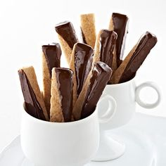 Chocolate Dipped Brown Sugar Shortbread Cookies Yield: about 48 cookies