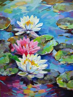Water Lilies Painting, Lotus Painting, Lily Painting, Acrylic Painting Flowers, Painting & Drawing, Flower Paintings On Canvas, Paintings Of Flowers, Poppy Field Painting, Painting Prints