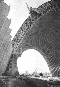 Pier Luigi Nervi: Orbetello Hangars in Orvieto, Terni, Umbria, Italy, built in 1939 - 1942, later destroyed.    Structure: Precast reinforced concrete ribbed barrel vault.  Width: 36m  Length: 100m
