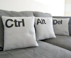Ctrl - Alt - Del Two and a Half Men -Three Pillow Set by Beth Comfy on Etsy - for the office #pillows #geek #sewing