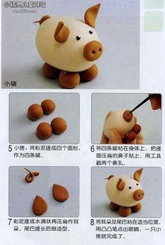 Pig Tutorial i love pigs! Polymer Clay Figures, Polymer Clay Animals, Polymer Clay Miniatures, Fondant Figures, Fimo Clay, Polymer Clay Projects, Polymer Clay Charms, Polymer Clay Creations, Clay Crafts