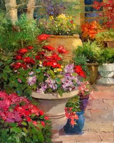 """American impressionists painter- """"Kent R. Wallis"""" - Fine Art and You - Painting Arte Floral, Garden Painting, Garden Art, Oil Painters, Jolie Photo, Wallis, Beautiful Paintings, Love Art, Impressionist"""