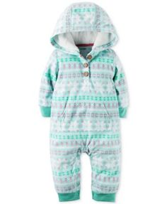 Carter's Hooded Fair Isle Coverall, Baby Girls (0-24 months) $11.99 Cozy looks are easy with this vibrantly printed hooded coverall by Carter's—finished with an ultra-snuggly faux-fur-lined hood