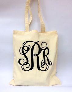 Monogrammed Tote Bag Bridesmaid Gifts Bridesmaid by PoshBoutiqueGa