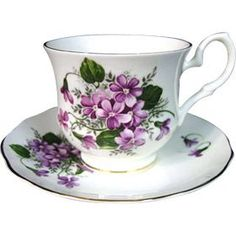 Bone China Tea Cup and Saucer - Violets