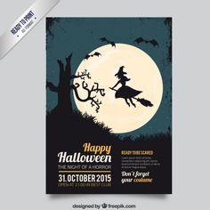 Folleto de halloween con una bruja Vector Gratis