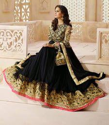 Buy Black embroidered net semi stitched salwar with dupatta wedding-salwar-kameez online