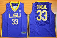 LSU Tigers #33 Shaquille O'Neal Purple Basketball Stitched NCAA Jersey