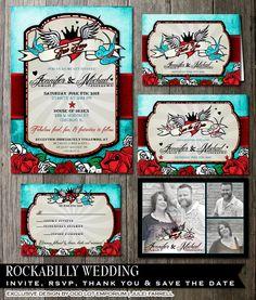 Rockabilly Wedding Suite Invitation RSVP Card by OddLotEmporium, $65.00