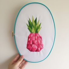I love the pineapple embroidery from issue 55 of Mollie Makes designed by Catherine Greenslade. I decided to stitch a pink pineapple embroidery! Pineapple Embroidery, Silk Ribbon Embroidery, Embroidery Needles, Embroidery Art, Cross Stitch Embroidery, Embroidery Patterns, Embroidery Hoops, Contemporary Embroidery, Embroidery Techniques