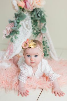 Blakely's 6 Month Old Pictures//Sara Vickers// Baby Flower crown Baby Lace Outfit Freshly Picked Mocs 3 Month Old Baby Pictures, 6 Month Baby Picture Ideas, Milestone Pictures, Baby Girl Pictures, 6 Month Photos, Monthly Pictures, 6 Month Photography, Newborn Baby Photography, Six Month Baby