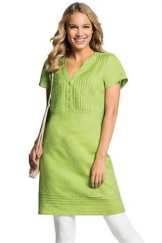 a23687ccbb1 Women s Linen Slit Neck Dress from Lands  End  I think this could be ...