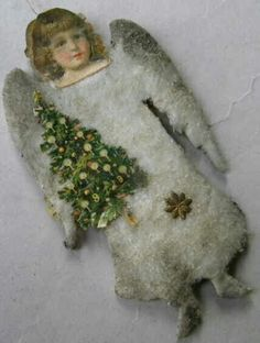 Girl with tree Beaded Christmas Ornaments, Angel Ornaments, Victorian Christmas, Primitive Christmas, Vintage Ornaments, Vintage Christmas, Christmas Wreaths, Christmas Crafts, Christmas Decorations