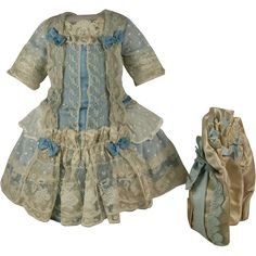 Wonderful Antique Dotted Muslin French Bebe Dress and Bonnet for JUMEAU, BRU, or…