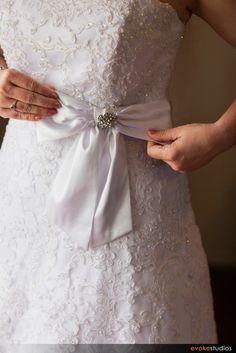 Beautiful bow on wedding dress