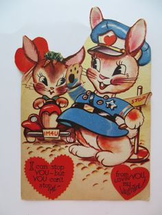 Vintage Childrens Valentine Card-1940s-Mechanical-LARGE-Cute Bunnies-Rabbits
